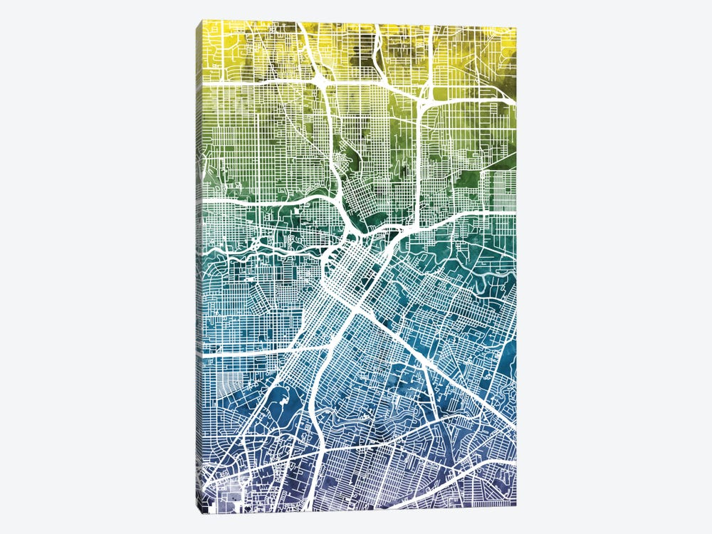 Color Gradient Urban Street Map Series: Houston, Texas, USA by Michael Tompsett 1-piece Canvas Art Print