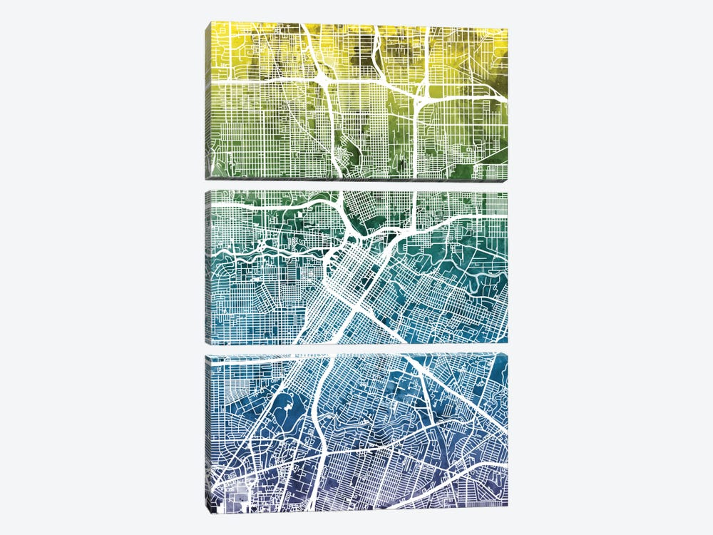 Color Gradient Urban Street Map Series: Houston, Texas, USA by Michael Tompsett 3-piece Canvas Print