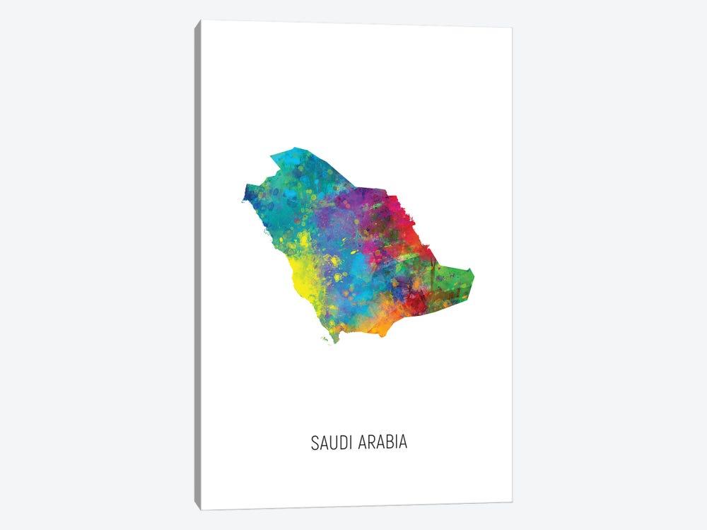 Saudi Arabia Map by Michael Tompsett 1-piece Canvas Artwork