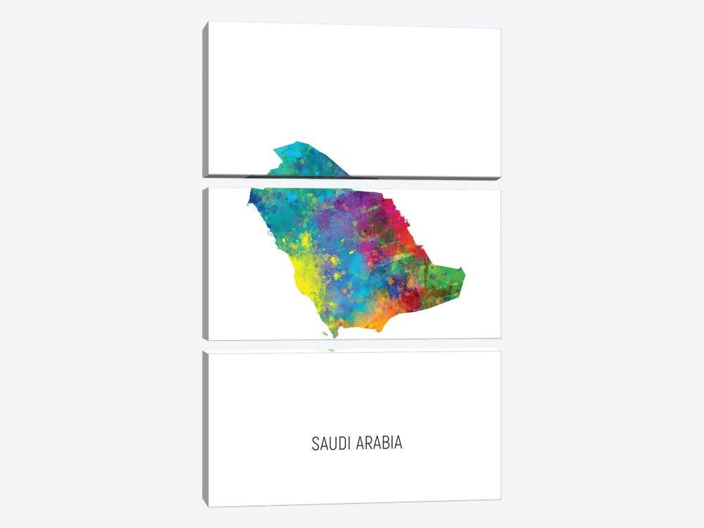 Saudi Arabia Map by Michael Tompsett 3-piece Canvas Artwork