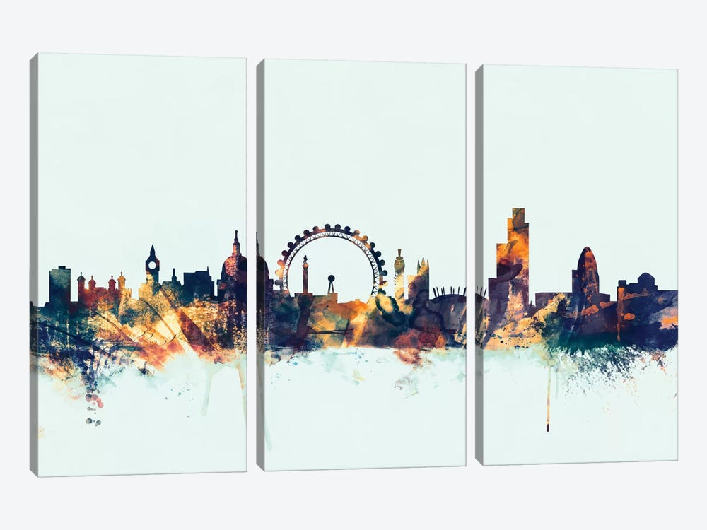 London, England, United Kingdom II On Blue by Michael Tompsett 3-piece Canvas Artwork