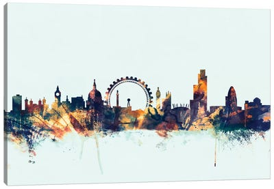 London, England, United Kingdom II On Blue Canvas Art Print