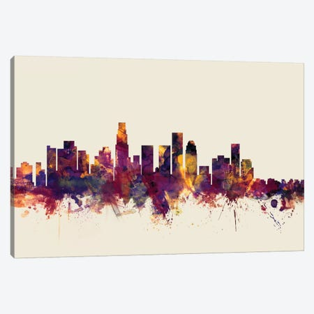 Los Angeles, California, USA On Beige Canvas Print #MTO322} by Michael Tompsett Canvas Wall Art