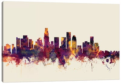 Los Angeles, California, USA On Beige Canvas Art Print
