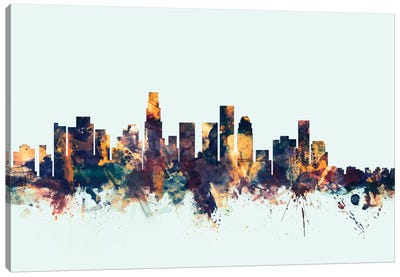 Los Angeles, California, USA On Blue Canvas Art Print