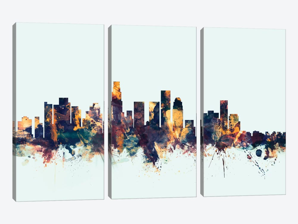 Los Angeles, California, USA On Blue 3-piece Canvas Artwork