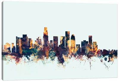 Los Angeles, California, USA On Blue Canvas Art Print
