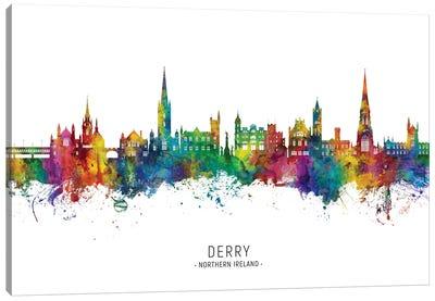 Derry Northern Ireland Skyline City Name Canvas Art Print