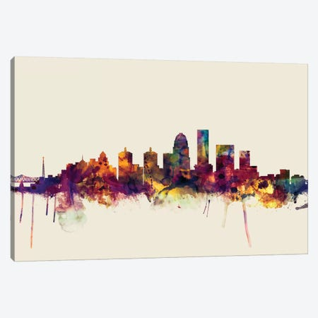 Louisville, Kentucky, USA On Beige Canvas Print #MTO324} by Michael Tompsett Canvas Art Print
