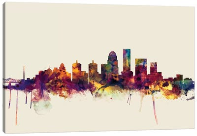 Skyline Series: Louisville, Kentucky, USA On Beige Canvas Print #MTO324