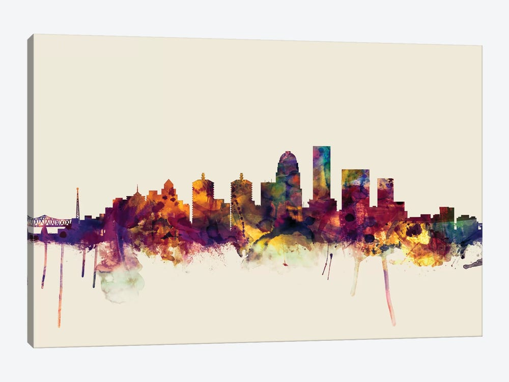 Louisville, Kentucky, USA On Beige by Michael Tompsett 1-piece Canvas Print