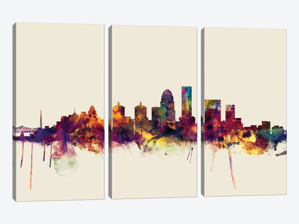 Louisville, Kentucky, USA On Beige by Michael Tompsett 3-piece Canvas Art Print