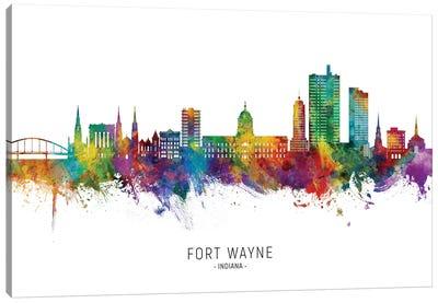 Fort Wayne Indiana Skyline City Name Canvas Art Print