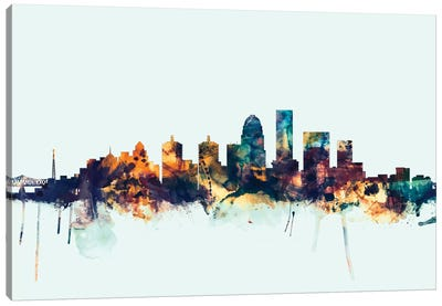 Skyline Series: Louisville, Kentucky, USA On Blue Canvas Print #MTO325