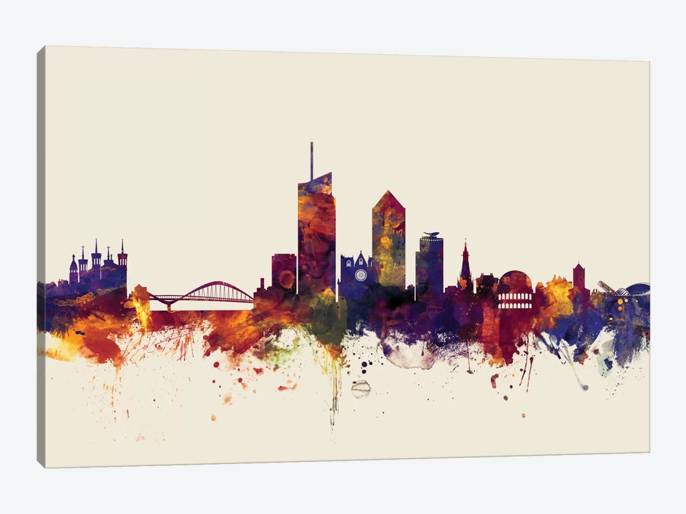 Skyline Series: Lyon, France On Beige by Michael Tompsett 1-piece Canvas Print