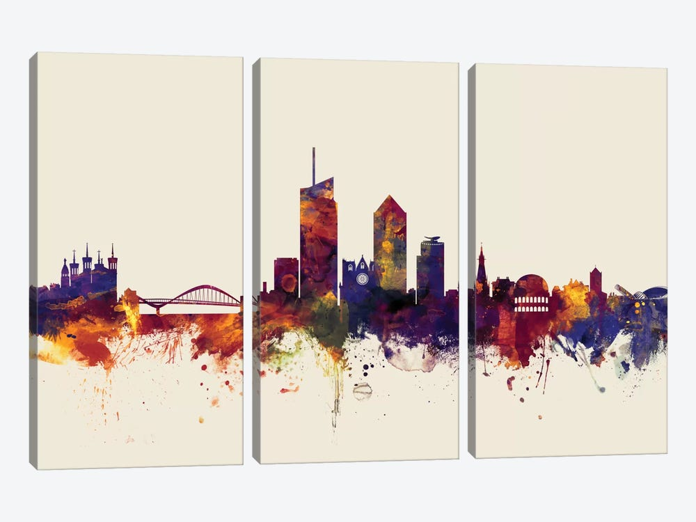 Skyline Series: Lyon, France On Beige by Michael Tompsett 3-piece Canvas Print