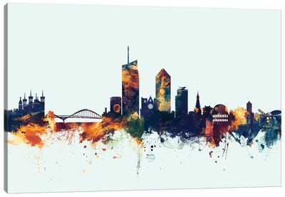 Skyline Series: Lyon, France On Blue Canvas Print #MTO327