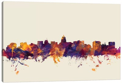 Skyline Series: Madison, Wisconsin, USA On Beige Canvas Art Print