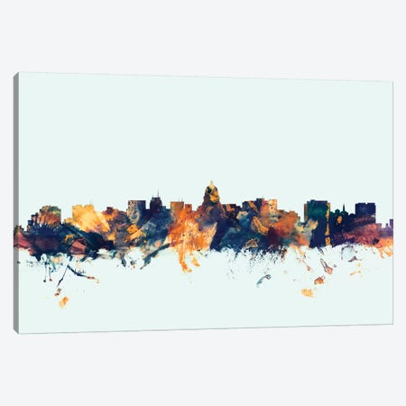 Madison, Wisconsin, USA On Blue Canvas Print #MTO329} by Michael Tompsett Canvas Artwork