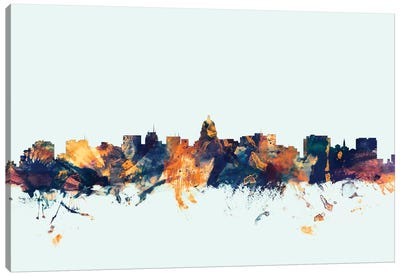 Skyline Series: Madison, Wisconsin, USA On Blue Canvas Print #MTO329