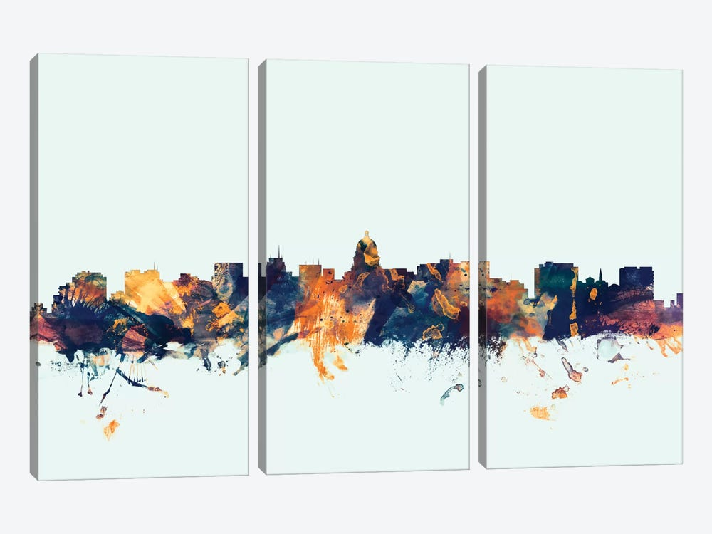 Skyline Series: Madison, Wisconsin, USA On Blue by Michael Tompsett 3-piece Canvas Artwork