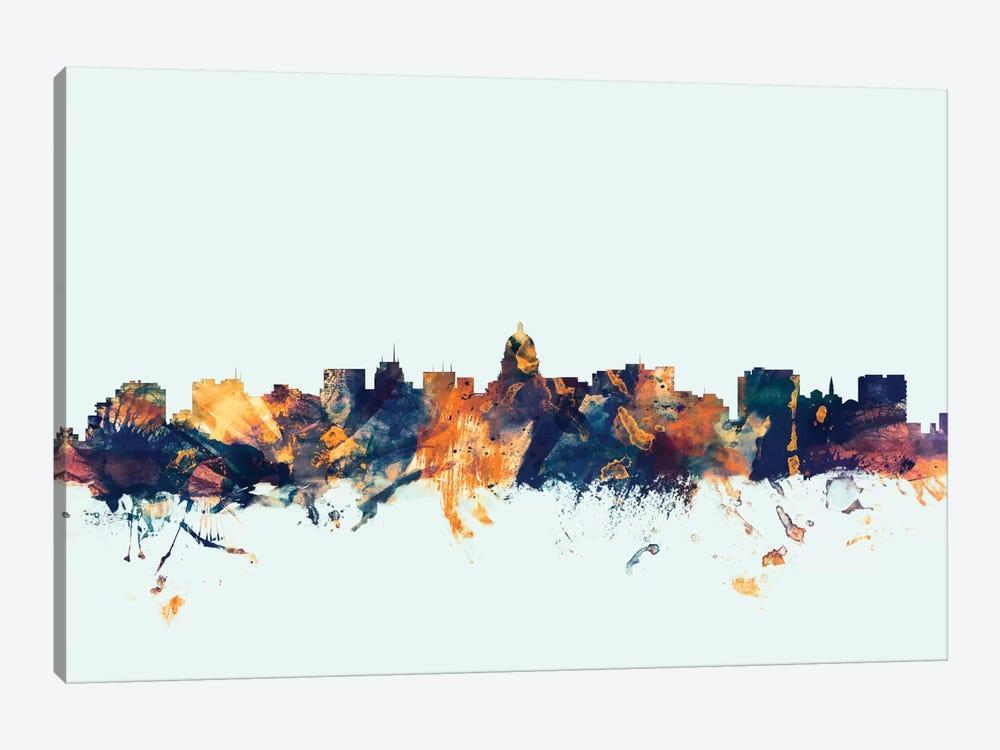 Madison, Wisconsin, USA On Blue by Michael Tompsett 1-piece Canvas Art