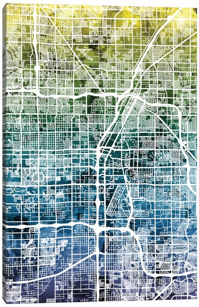 Color Gradient Urban Street Map Series: Las Vegas, Nevada, USA Canvas Print #MTO32