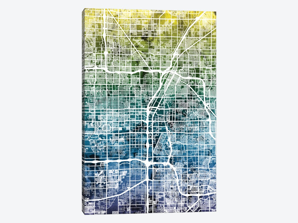 Color Gradient Urban Street Map Series: Las Vegas, Nevada, USA by Michael Tompsett 1-piece Canvas Wall Art