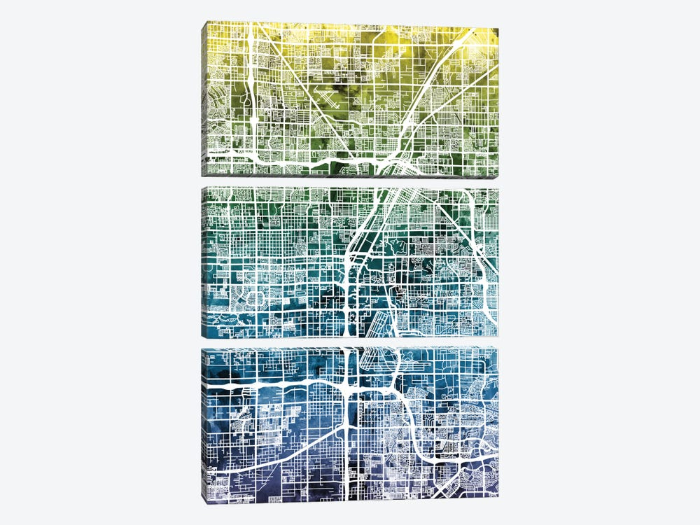 Color Gradient Urban Street Map Series: Las Vegas, Nevada, USA by Michael Tompsett 3-piece Canvas Wall Art