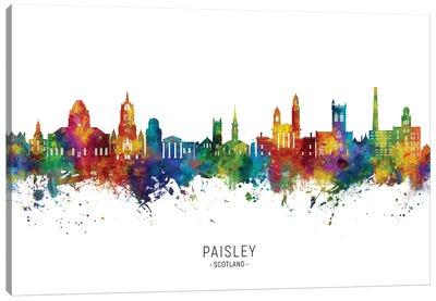 Paisley Scotland Skyline City Name Canvas Art Print