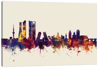 Skyline Series: Madrid, Spain On Beige Canvas Print #MTO330