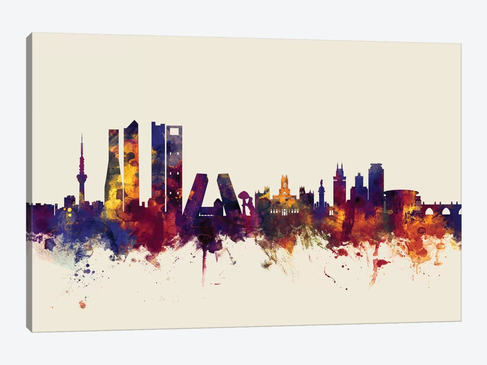 Skyline Series: Madrid, Spain On Beige by Michael Tompsett 1-piece Canvas Art