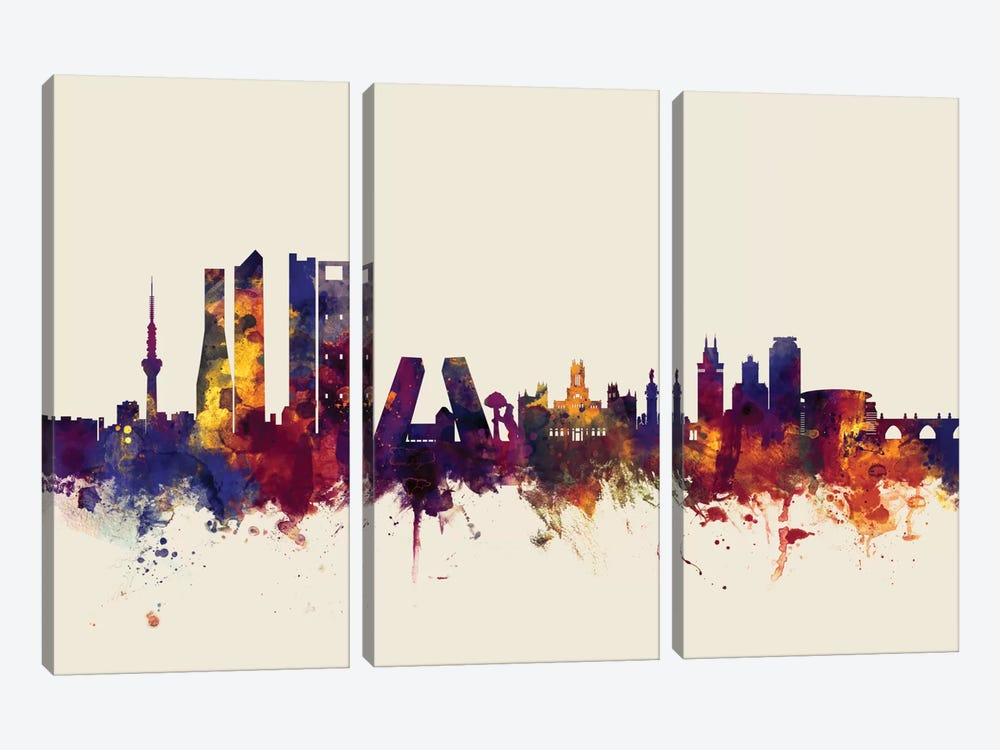 Skyline Series: Madrid, Spain On Beige by Michael Tompsett 3-piece Canvas Artwork