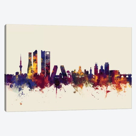 Madrid, Spain On Beige Canvas Print #MTO330} by Michael Tompsett Art Print
