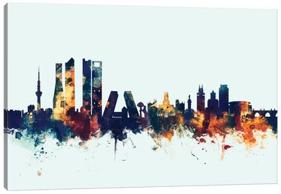 Skyline Series: Madrid, Spain On Blue Canvas Art Print