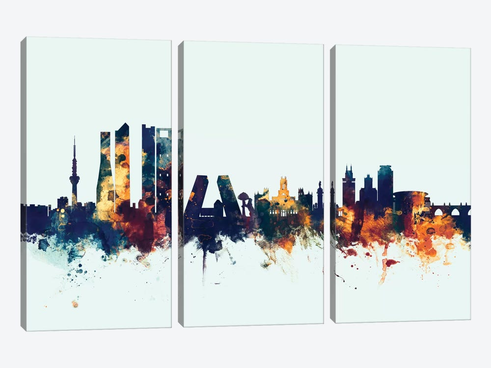 Madrid, Spain On Blue by Michael Tompsett 3-piece Canvas Art Print