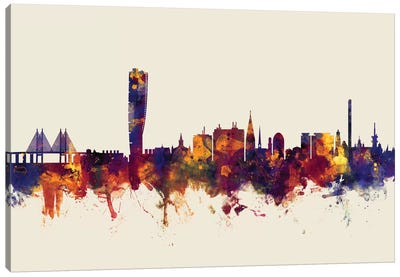 Malmo, Sweden On Beige Canvas Art Print