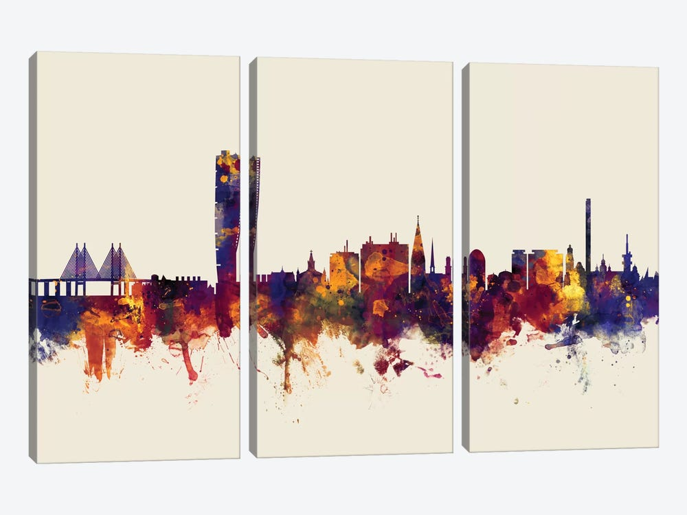 Skyline Series: Malmo, Sweden On Beige by Michael Tompsett 3-piece Canvas Art