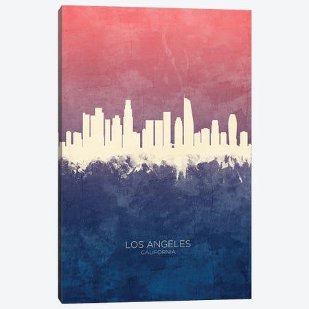 Los Angeles California Skyline Blue Rose Canvas Print #MTO3331} by Michael Tompsett Art Print