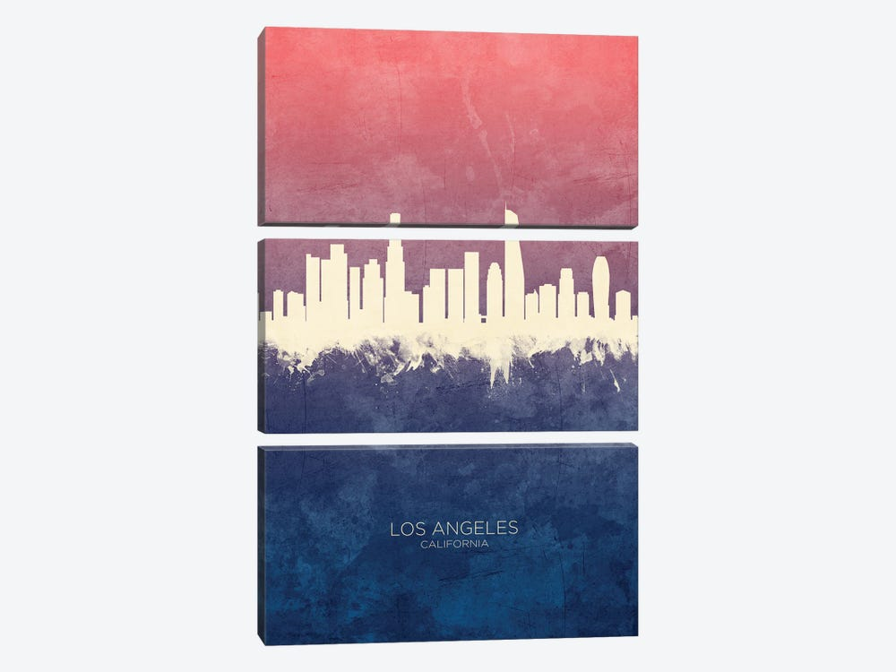 Los Angeles California Skyline Blue Rose by Michael Tompsett 3-piece Art Print