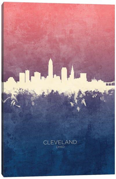 Cleveland Ohio Skyline Blue Rose Canvas Art Print