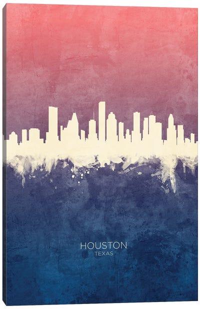 Houston Texas Skyline Blue Rose Canvas Art Print