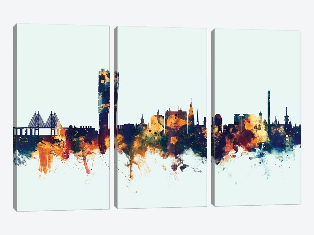 Malmo, Sweden On Blue by Michael Tompsett 3-piece Art Print