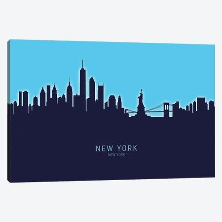 New York New York Skyline Glow Blue Canvas Print #MTO3345} by Michael Tompsett Canvas Art Print