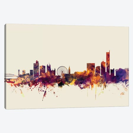 Manchester, England, United Kingdom On Beige Canvas Print #MTO334} by Michael Tompsett Canvas Wall Art