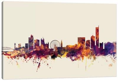 Skyline Series: Manchester, England, United Kingdom On Beige Canvas Print #MTO334