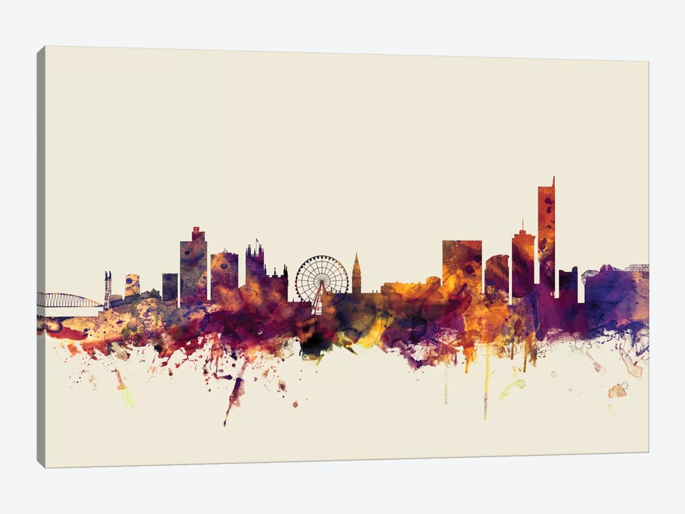 Skyline Series: Manchester, England, United Kingdom On Beige by Michael Tompsett 1-piece Canvas Art