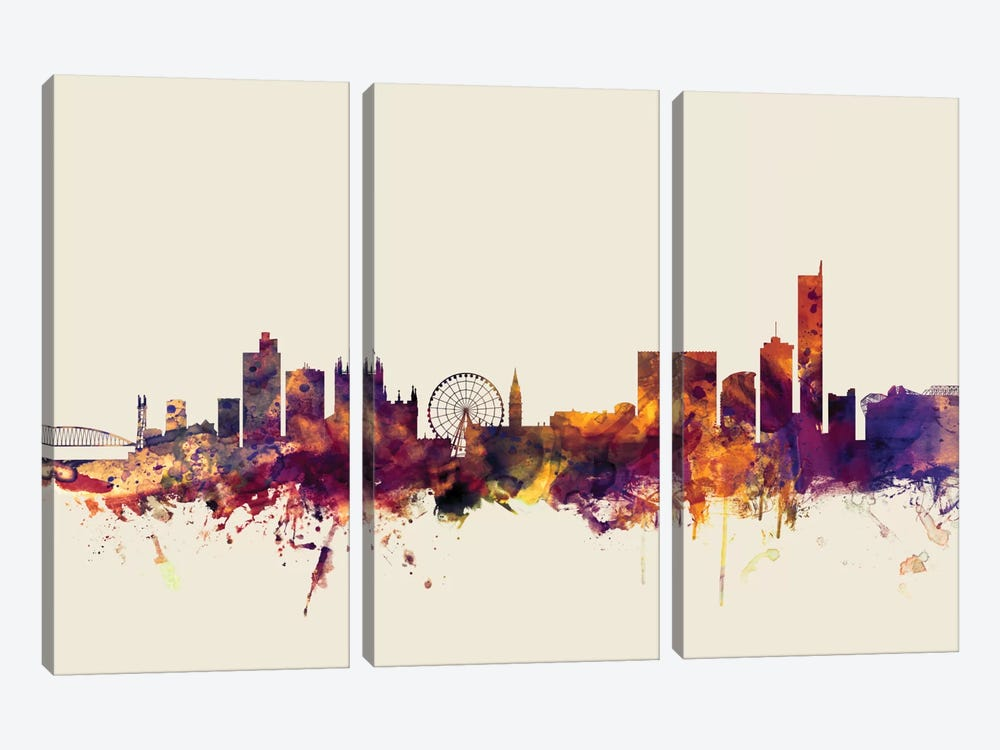 Skyline Series: Manchester, England, United Kingdom On Beige by Michael Tompsett 3-piece Canvas Artwork