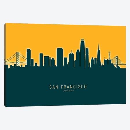San Francisco  Skyline Glow Mango Canvas Print #MTO3357} by Michael Tompsett Canvas Art