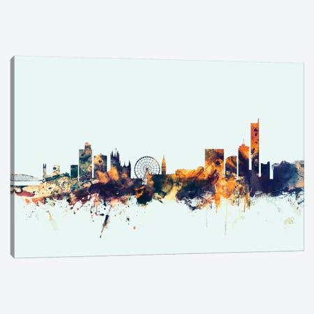 Manchester, England, United Kingdom On Blue Canvas Print #MTO335} by Michael Tompsett Canvas Artwork
